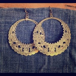 Bronze/Blue Hooped Earrings